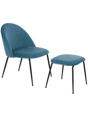 Set sillón de terciopelo Villum, 2pzas., Tapizado: terciopelo (poliéster) Re, Patas: metal recubierto, Tapizado: terciopelo (poliéster) Re, Patas: metal recubierto, Azul, negro, Tamaños diferentes