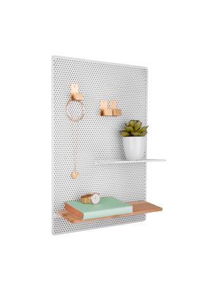 Pinnwand Perkys, Metall, lackiert, Weiß, Messingfarben, 35 x 53 cm