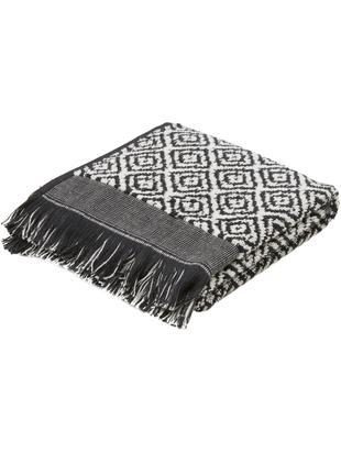 Asciugamano con motivo a rombi Morocco, Cotone, qualità media, 500 g/m², Nero, bianco, Larg. 40 x Lung. 55 cm