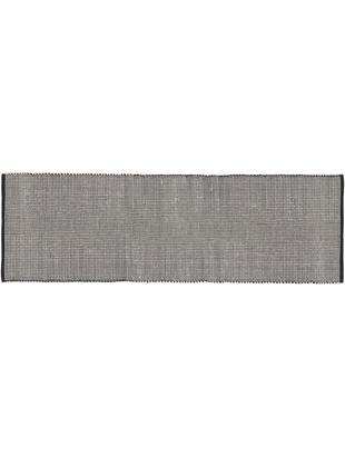 Handgewebter Wollläufer Amaro, 38% Wolle, 22% Polyester, 20% Baumwolle, 20% Polyamid, Schwarz, Cremeweiß, 80 x 250 cm
