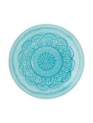 Piatto piano Nadia, 4 pz., Gres, Blu verde, bianco, Ø 28 x Alt. 3 cm