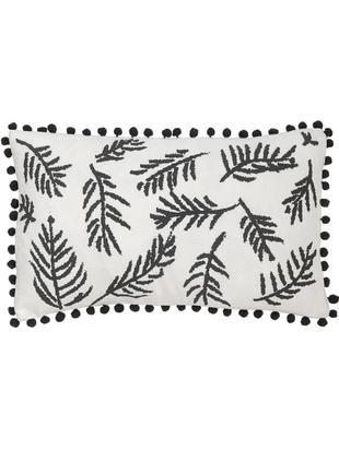 Kissenhülle Jungle mit Blätter-Motiv und Pompoms, Baumwolle, Weiß, Schwarz, 30 x 50 cm