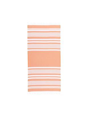 Fouta z frędzlami Stripy, Bawełna Bardzo niska gramatura, 185 g/m², Pomarańczowy, biały, S 95 x D 175 cm