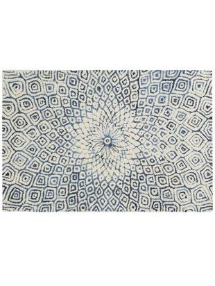 Alfombra artesanal con flecos Fleur, Parte superior: 60%lana, 40%algodón, Reverso: 100%algodón, Azul vaquero, An 120 x L 180 cm (Tamaño S)