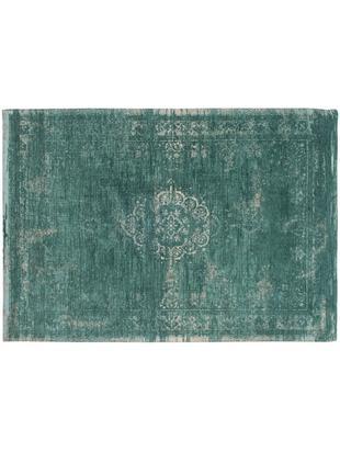 Dywan szenilowy vintage Medaillon, Zielony, szary, 140 x 200 cm (Rozmiar S)