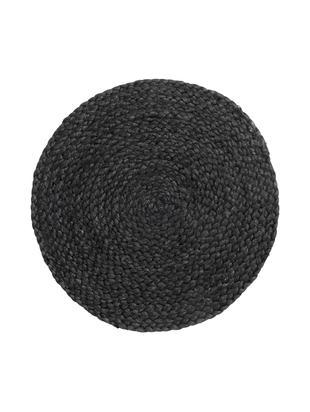 Tovaglietta americana rotonda Thrill 4 pz, Iuta, dipinto, Nero, Ø 35 cm
