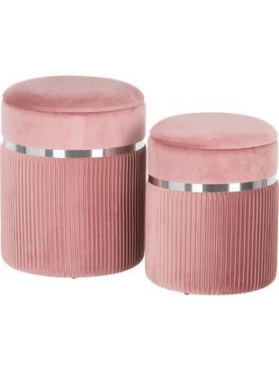 Komplet pufów Chest, 2 elem., Tapicerka: poliester (aksamit), Blady różowy, odcienie srebrnego, Różne rozmiary