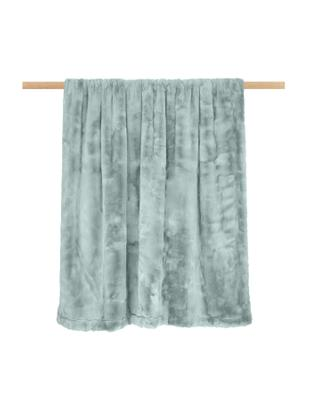 Plaid in ecopelliccia Mette, Retro: 100% poliestere, Verde, Larg. 150 x Lung. 200 cm