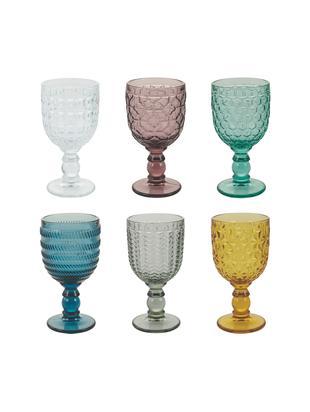 Weingläser Geometrie mit Strukturmuster in Bunt, 6er-Set, Glas, Mehrfarbig, Ø 9 x H 17 cm
