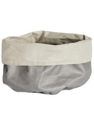 Kosz na pieczywo z lnu XS Patinn, 55% len, 45% bawełna, powlekane poliuretanem, Beżowy, jasny szary, Ø 16 x W 20 cm