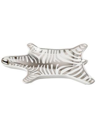Ciotola da decorazione Zebra in porcellana, Porcellana, Bianco,argento, Lung. 15 x  Prof. 11 cm