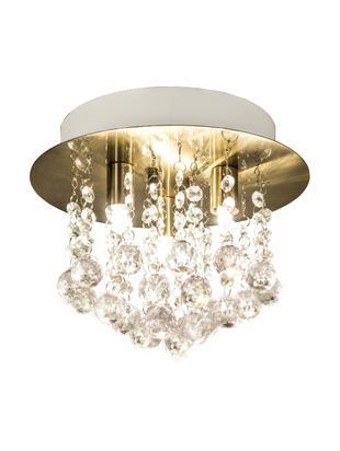 XS plafondlamp Madelene met glaskristallen, Lampenkap: messing, Messingkleurig, transparant, Ø 26 x H 20 cm