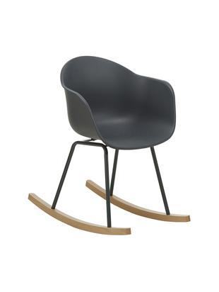 Schaukelstuhl Claire mit Holzkufen, Sitzschale: Kunststoff, Beine: Metall, pulverbeschichtet, Gestell: Buchenholz, Sitzschale: DunkelgrauBeine: DunkelgrauGestell: Buchenholz, B 61 x T 80 cm