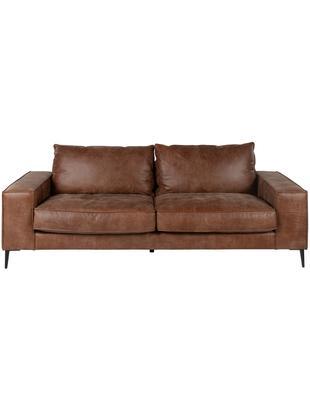 Sofa ze skóry Brett (3-osobowa), Tapicerka: skóra bydlęca, gładka, Stelaż: aluminium, lakierowane, Odcienie brązowego, S 215 x G 90 cm