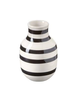 Jarrón artesanal de diseño Omaggio, mediano, Cerámica, Negro, blanco, Ø 8 x Al 13 cm