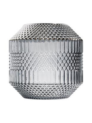 Wazon ze szkła Dolin, Szkło, metal, Szary, transparentny, odcienie srebrnego, Ø 20 x W 20 cm