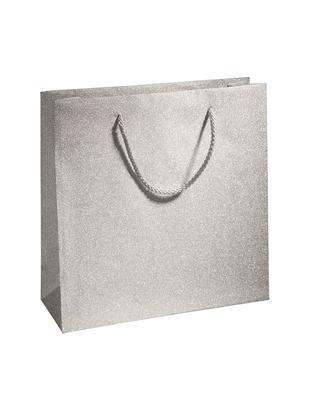 Sacchetti regalo Sublime, 3 pz., Polipropilene, Argentato, Larg. 28 x Alt. 28 cm