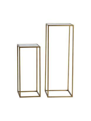 Beistelltisch-Set Honey mit Spiegelglas-Platte, Gestell: Metall, lackiert, Tischplatte: Spiegelglas, matt, Messingfarben, Verschiedene Grössen