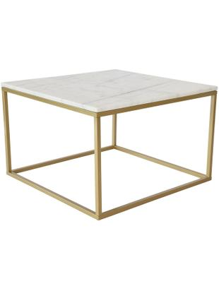 Marmor-Couchtisch Accent mit Metallgestell, Tischplatte: Marmor, Gestell: Metall, pulverbeschichtet, Weiss, Messingfarben, 75 x 48 cm