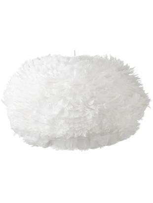Lampada a sospensione in piume Eos, Paralume: piuma d'oca, acciaio, Baldacchino: materiale sintetico, Bianco, Ø 75 x Alt. 45 cm