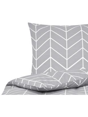 Renforcé-Bettwäsche Mirja mit grafischem Muster, Webart: Renforcé, Grau, Cremeweiß, 135 x 200 cm