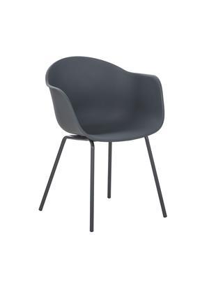 Krzesło z podłokietnikami Claire, Nogi: metal malowany proszkowo, Szary, S 61 x G 58 cm