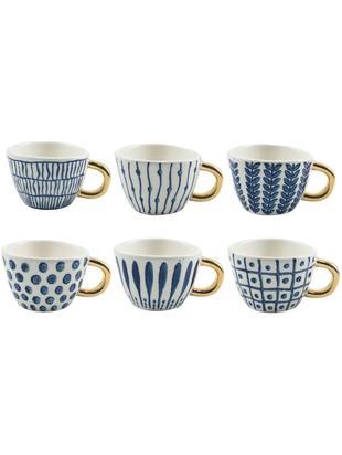 Gemusterte Espressotassen Masai mit goldenem Griff, 6er-Set, Steingut, Blau, Weiss, Goldfarbe, Ø 7 x H 5 cm