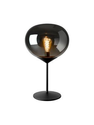 Tischleuchte Drop aus Glas, verchromt, Lampenschirm: Glas, verchromt, Lampenfuß: Metall, lackiert, Chrom, Schwarz, Ø 36 x H 59 cm