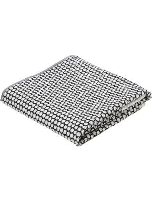 Asciugamano con motivo punteggiato Grid, Cotone, qualità media, 540 g/m², Nero, bianco latteo, Asciugamano