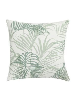 Kissen Alana mit Palmenblättern, mit Inlett, Hülle: Baumwolle, Gebrochenes Weiß, Grün, 45 x 45 cm