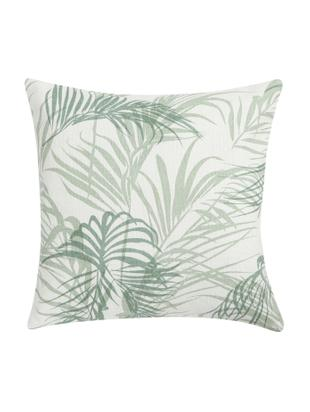Cuscino tropicale con imbottitura Alana, Bianco latteo, verde, Larg. 45 x Lung. 45 cm