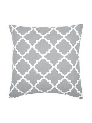 Kissenhülle Lana mit grafischem Muster, Baumwolle, Grau, Weiß, 45 x 45 cm