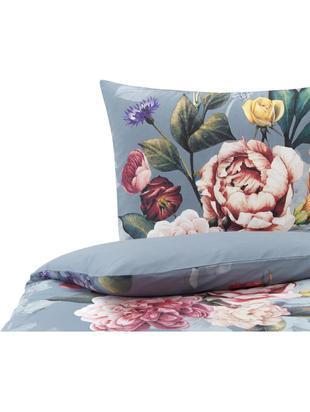 Bettwäsche Nysted mit Blumenprint, Baumwolle, Grau, Mehrfarbig, 135 x 200 cm