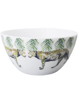 Schälchen Panther mit Tiermotiv, 2 Stück, Porzellan, Weiß, Gelb, Braun, Grün, Schwarz, Ø 14 cm