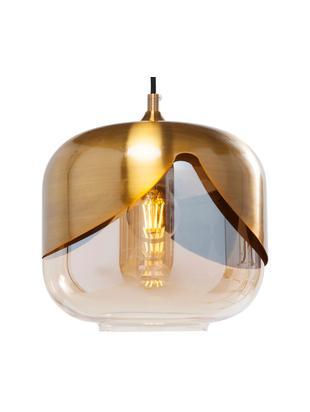 Lampada a sospensione in vetro Golden Goblet, Paralume: vetro colorato, Ottone, Ø 25 x Alt. 25 cm