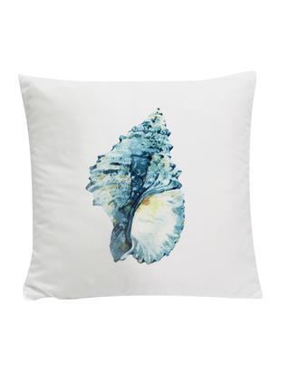 Federa arredo con motivo conchiglia Shell, Poliestere, Bianco, blu, giallo, Larg. 45 x Lung. 45 cm