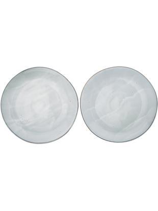 Handgemachte Speiseteller Thalia, 2 Stück, Steinzeug, Grau mit dunklem Rand, Ø 27 cm