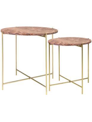 Marmor-Beistelltisch 2er-Set Freja, Tischplatte: Marmor, Beine: Metall, lackiert, Rot, marmoriert, Sondergrößen