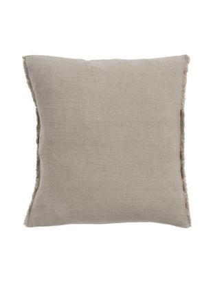 Cuscino in lino Sunshine Fringe, Rivestimento: lino, Taupe, Larg. 50 x Lung. 50 cm