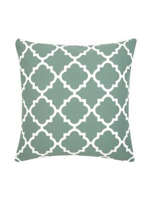 Kissenhülle Lana mit grafischem Muster, Baumwolle, Salbeigrün, Weiß, 45 x 45 cm