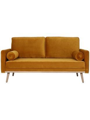 Sofa z aksamitu Saint (2-osobowa), Tapicerka: aksamit (poliester) 3500, Stelaż: lite drewno sosnowe, płyt, Tapicerka: brunatnożółty Nogi i rama: drewno dębowe, S 169 x G 87 cm