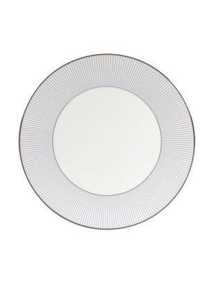 Frühstücksteller Pin Stripe, 4 Stück, Rand: platiniert, Weiß, Blau, Platin, Ø 18 cm