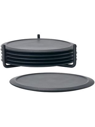 Onderzettersset Plain, 7-delig, Onderzetter: antislip silicone, Houder: metaal, Zwart, Ø 10 cm