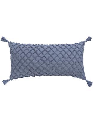 Federa arredo con motivo a rilievo Royal, Cotone, Blu, Larg. 30 x Lung. 60 cm