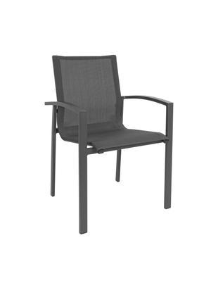 Stapelbarer Garten-Armlehnstuhl Atlantic, Gestell: Aluminium, pulverbeschich, Sitzfläche: Textil, Anthrazit, Dunkelgrau, B 60 x T 66 cm