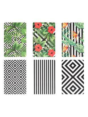 Kunststoff Tischsets Tropicana, 6er Set, Kunststoff, Schwarz, Weiß, Grün, Rot, Gelb, 30 x 45 cm