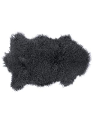 Alfombra de piel de oveja de pelo largo Curly, Parte superior: 100%piel de oveja, Reverso: 100%cuero, curtido sin c, Gris oscuro, An 60 x L 80 cm