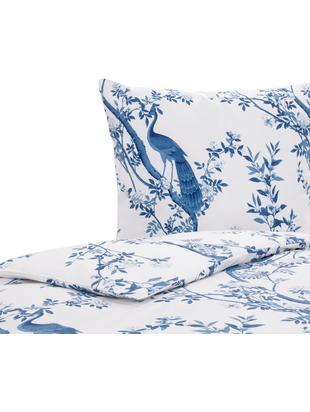 Funda nórdica de percal Annabelle, Blanco, azul, Cama 90 cm (150 x 220 cm)