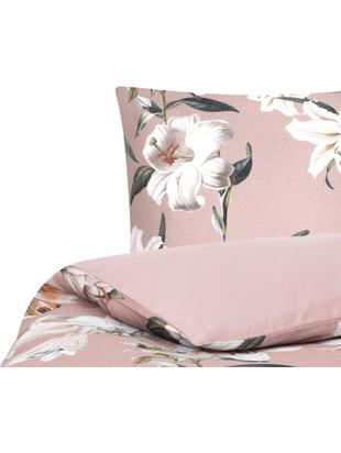 Pościel z satyny bawełnianej Flori, Przód: brudny różowy, kremowobiały Tył: brudny różowy, 135 x 200 cm