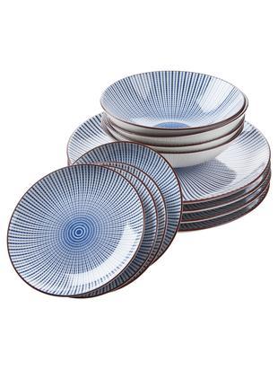 Geschirr-Set Dim Sum, 4 Personen (12-tlg.), Keramik, Blau, Weiß, Braun, Sondergrößen